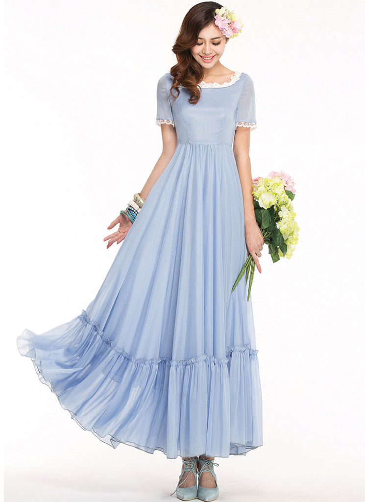 Light Blue Maxi Dress with White Lace Details and Ruffles