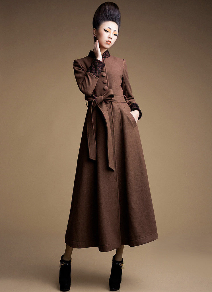Brown Cashmere Wool Coat with Stand Collar & Lace Details
