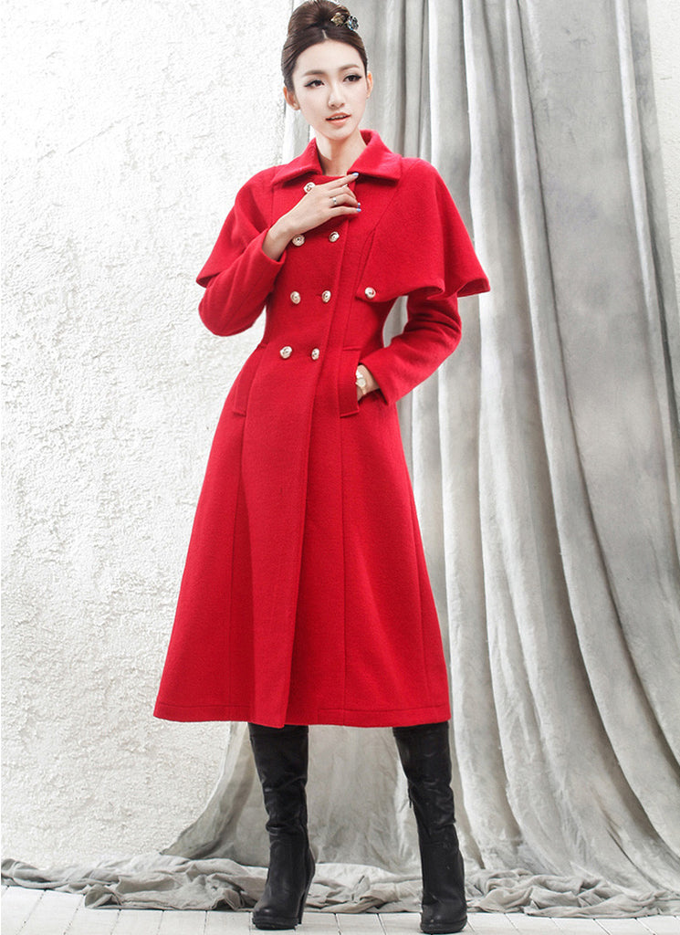 Double Breasted Red Cashmere Wool Coat with Cloak