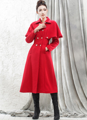 Double Breasted Red Cashmere Wool Coat with Cloak RB49