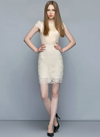 Cream Satin Lace Mini Sheath Dress with Ruffled Neckline and Cap Sleeves RD244
