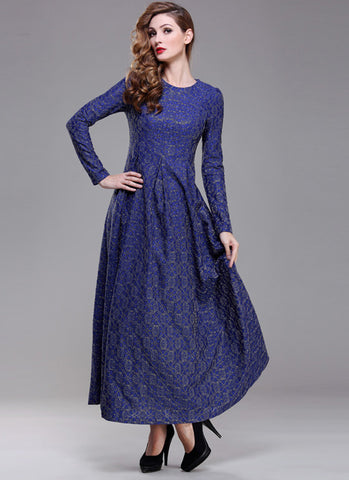 Gold Gilded Blue Lace Maxi Dress with Long Sleeves RM191