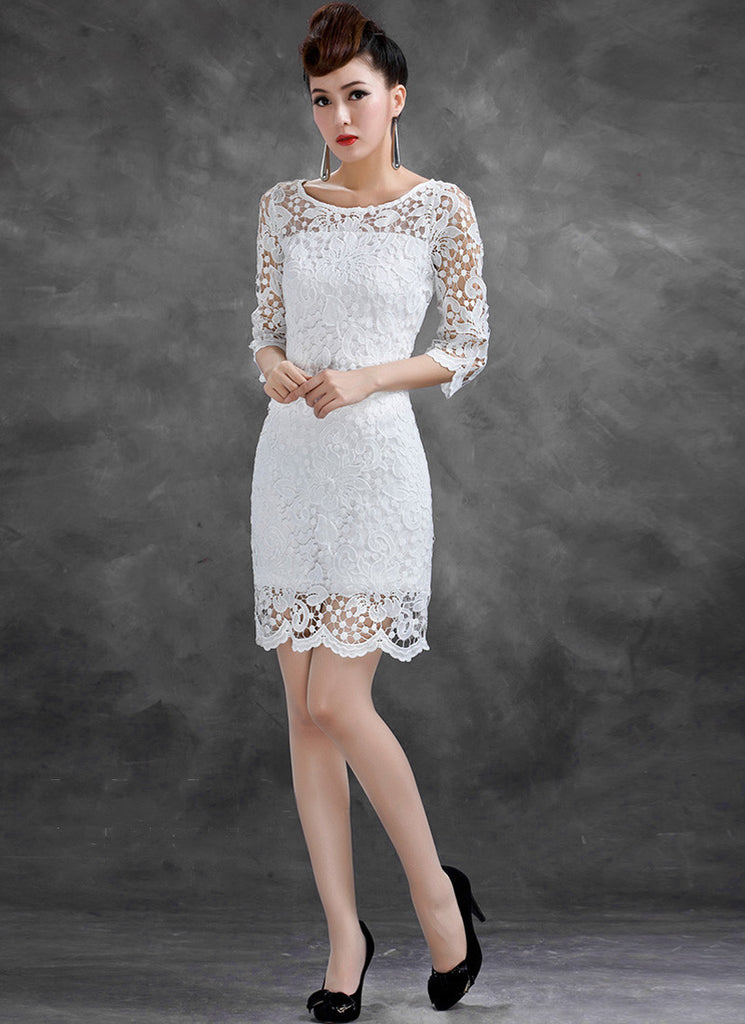 Half-sleeved White Lace Sheath Dress with Scalloped Hem