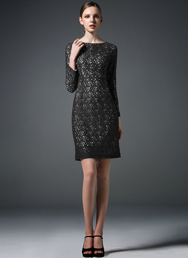 Black Lace Sheath Dress with Contrast White Lining