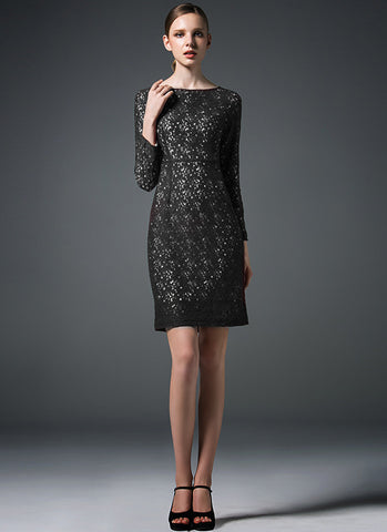 Black Lace Sheath Dress with Contrast White Lining RD230