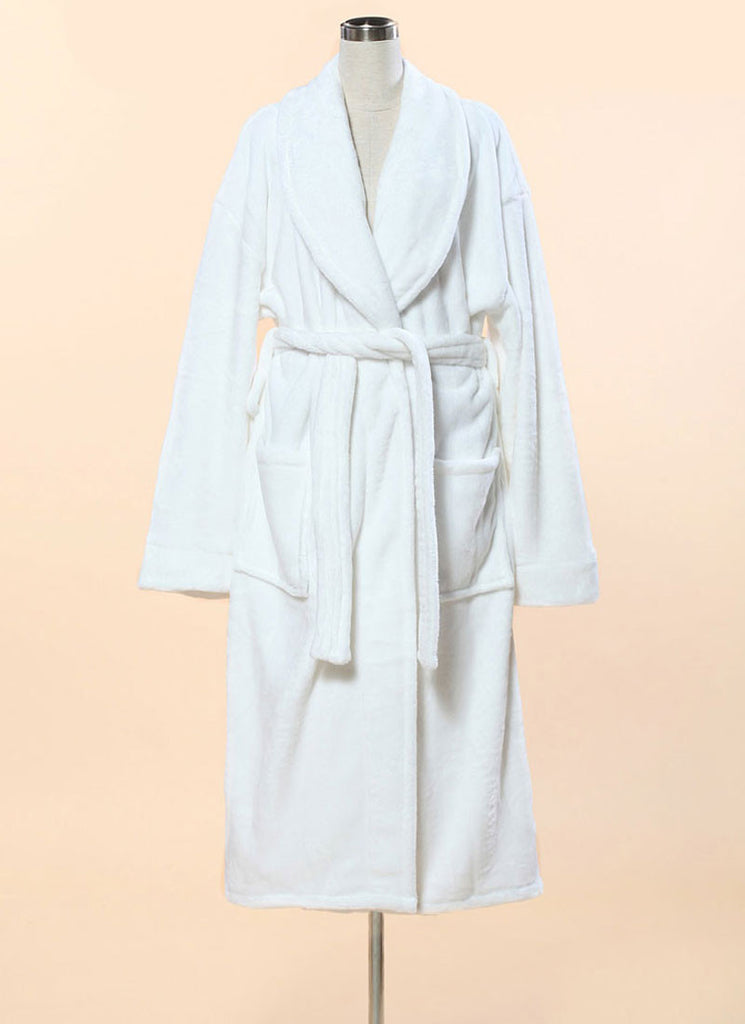 Extra Thick Micro Fiber Bathrobe - Soft White Fleece Bathrobe w. Shawl Collar