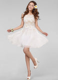 White Lace Mini Dress with Floral Appliqué & Bead Embellishment