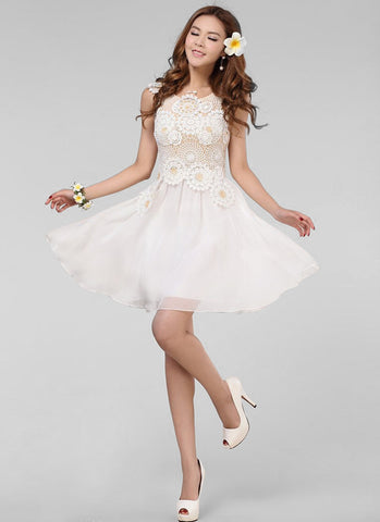 White Lace Mini Dress with Floral Appliqué & Bead Embellishment R39