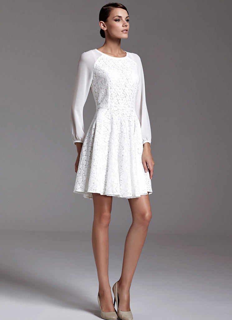 White Lace Fit N Flare Mini Dress with Raglan Sleeves