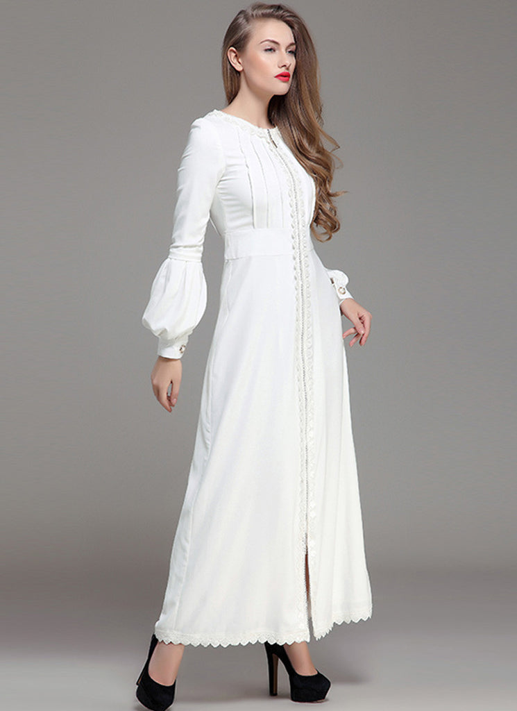 White Maxi Dress with Lace Details and Lantern Sleeves