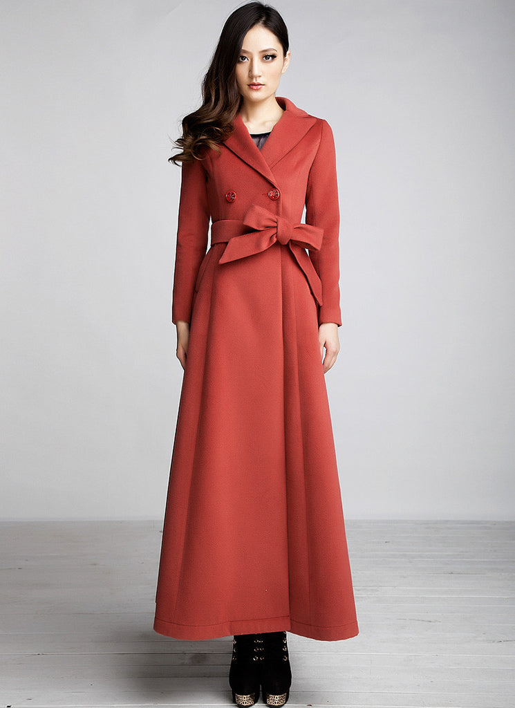 Double Breasted Long Indian Red Cashmere Wool Coat
