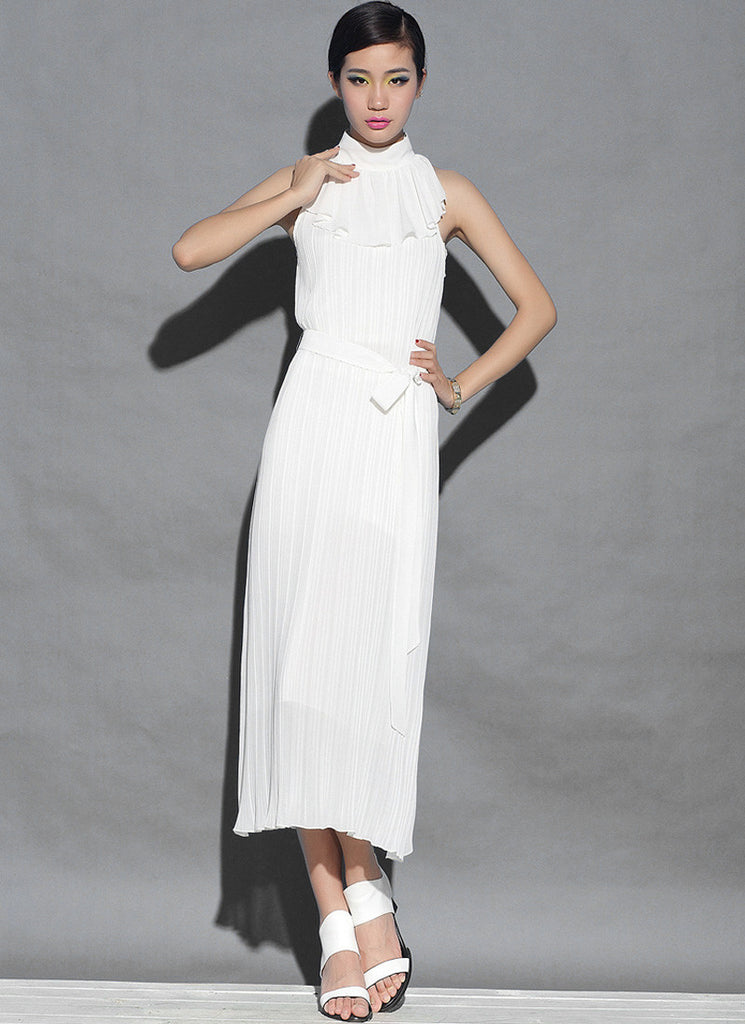 Pleated White Midi Dress with Draped Neck
