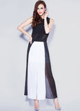 Black & White Maxi Dress with Open Back & Front Slit