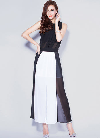 Black & White Maxi Dress with Open Back & Front Slit RM22