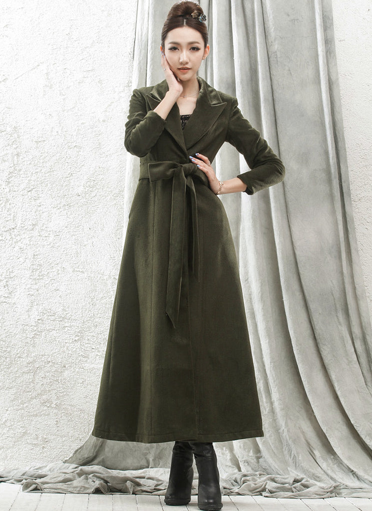 Long Dark Olive Green Cashmere Wool Coat