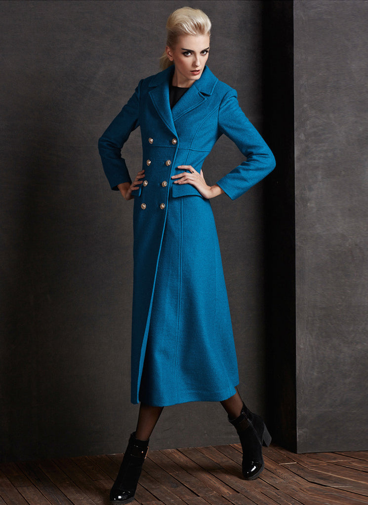 Empire Waisted Deep Sky Blue Cashmere Wool Coat