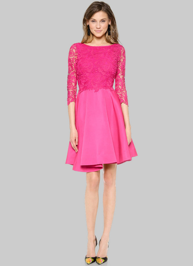 Fuchsia Lace Satin Peplum Mini Dress with Scoop Back