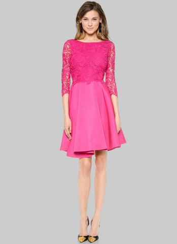 Fuchsia Lace Satin Peplum Mini Dress with Scoop Back RD216