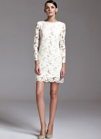 White Lace Aline Dress with Scalloped Hem RD166
