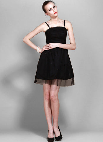 Black Tulle Mini Dress with Lace Details & Spaghetti Straps R31