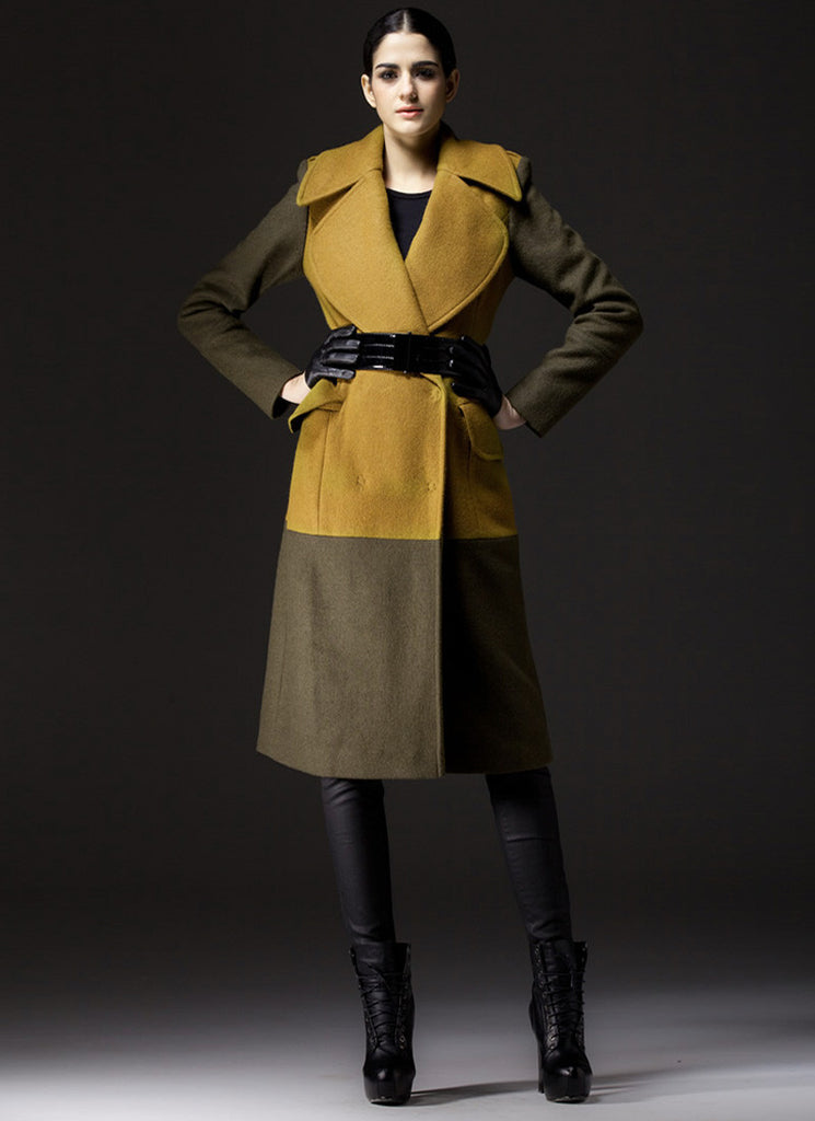 Dark Olive Cashmere Wool Coat with Yellow Torso