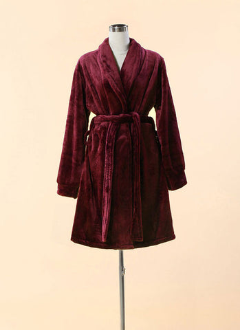 Extra Thick & Soft Bathrobe - Short Slim Fit Maroon Bathrobe