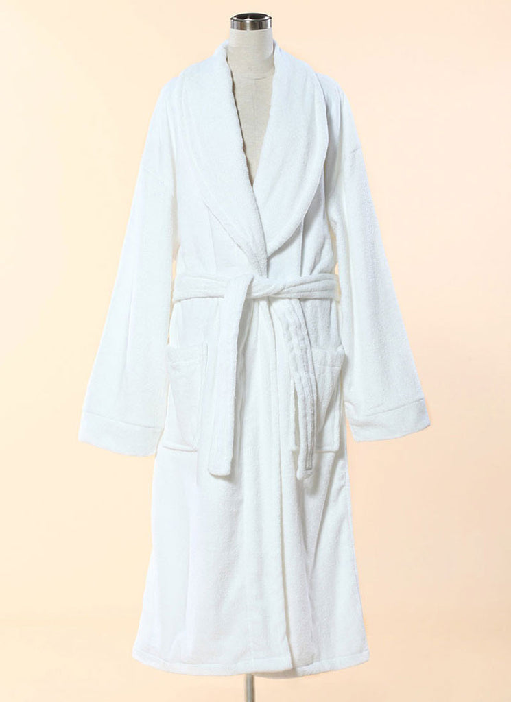 Extra Thick White Terry Bathrobe - 100% Cotton Shawl Collar Terry Cloth Bathrobe