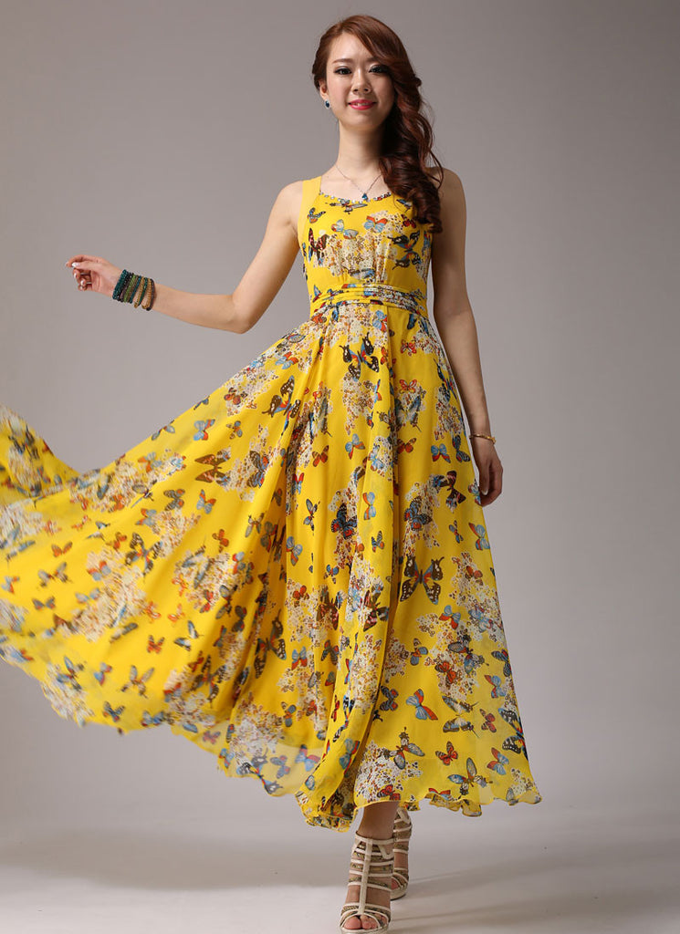 Yellow Maxi Dress with Butterfly Print
