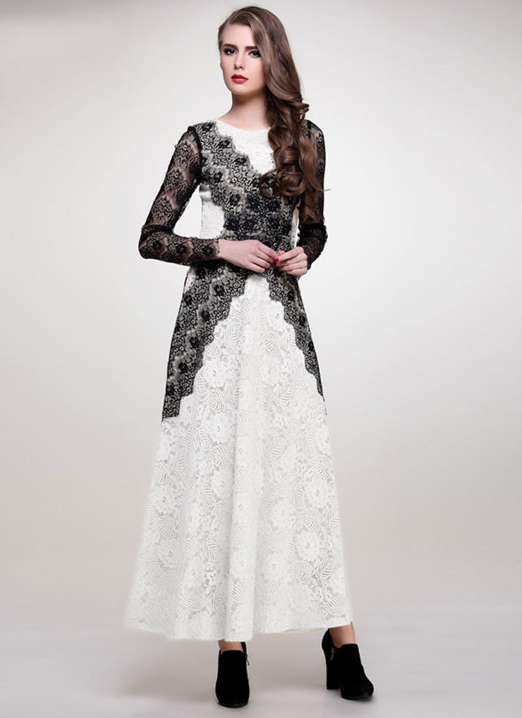 White Lace Maxi Dress with Black Eyelash Lace Appliqué Details