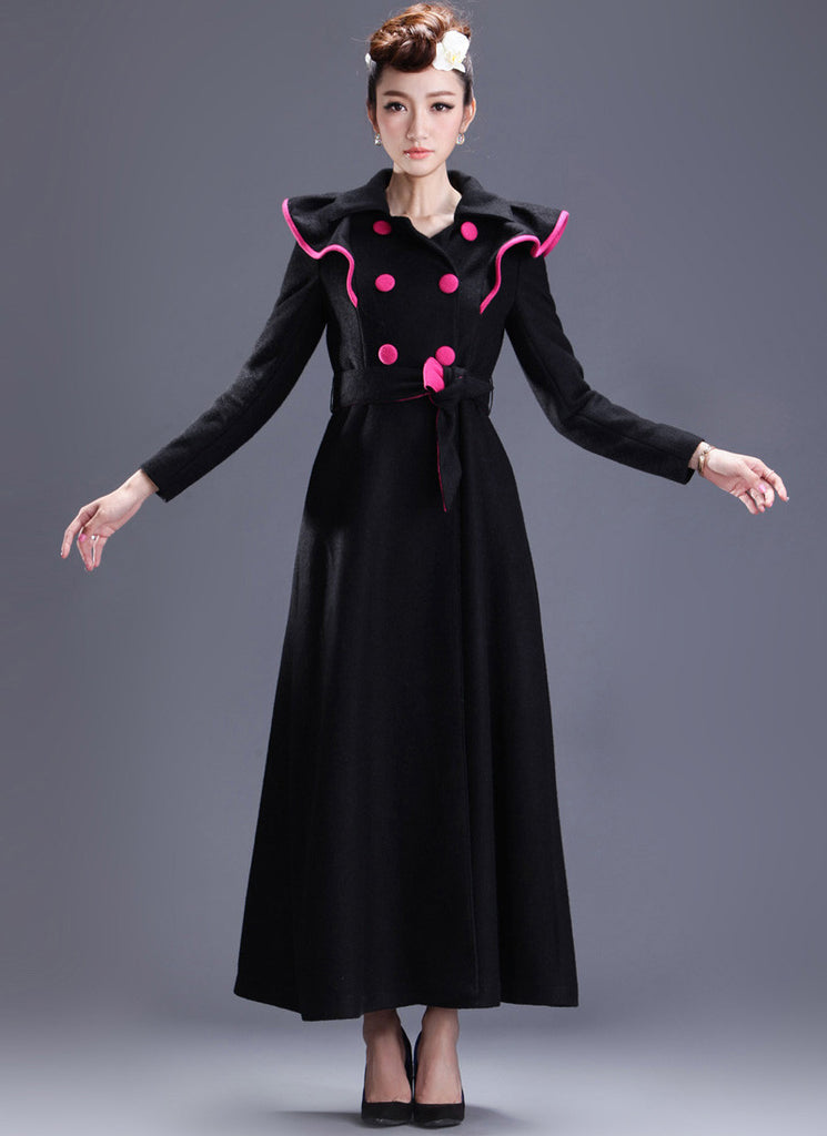Long Black Cashmere Wool Coat with Pink Piping