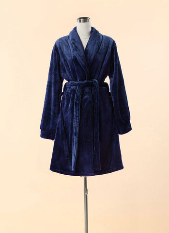 Extra Thick & Soft Bathrobe - Short Slim Fit Blue Bathrobe