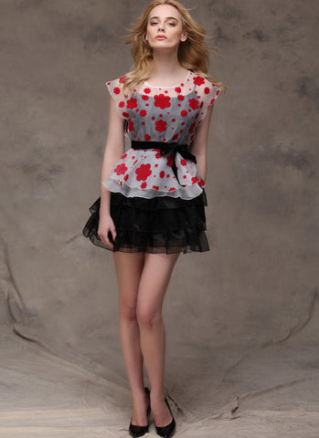 Black Organza Lace Dress with Red Floral Printed Peplum Top RD286