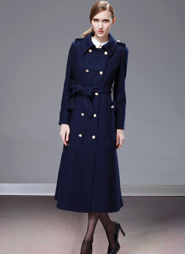 Double Breasted Navy Cashmere Wool Coat with Metal Buttons