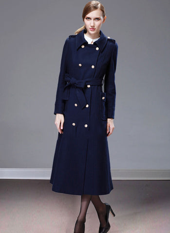 Double Breasted Navy Cashmere Wool Coat with Metal Buttons RB59