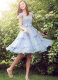Light Blue Chiffon Fit and Flare Mini Dress with Asymmetric Layered Skirt