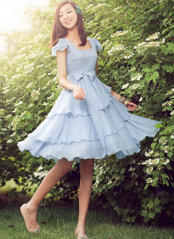 Light Blue Chiffon Fit and Flare Mini Dress with Asymmetric Layered Skirt RD272