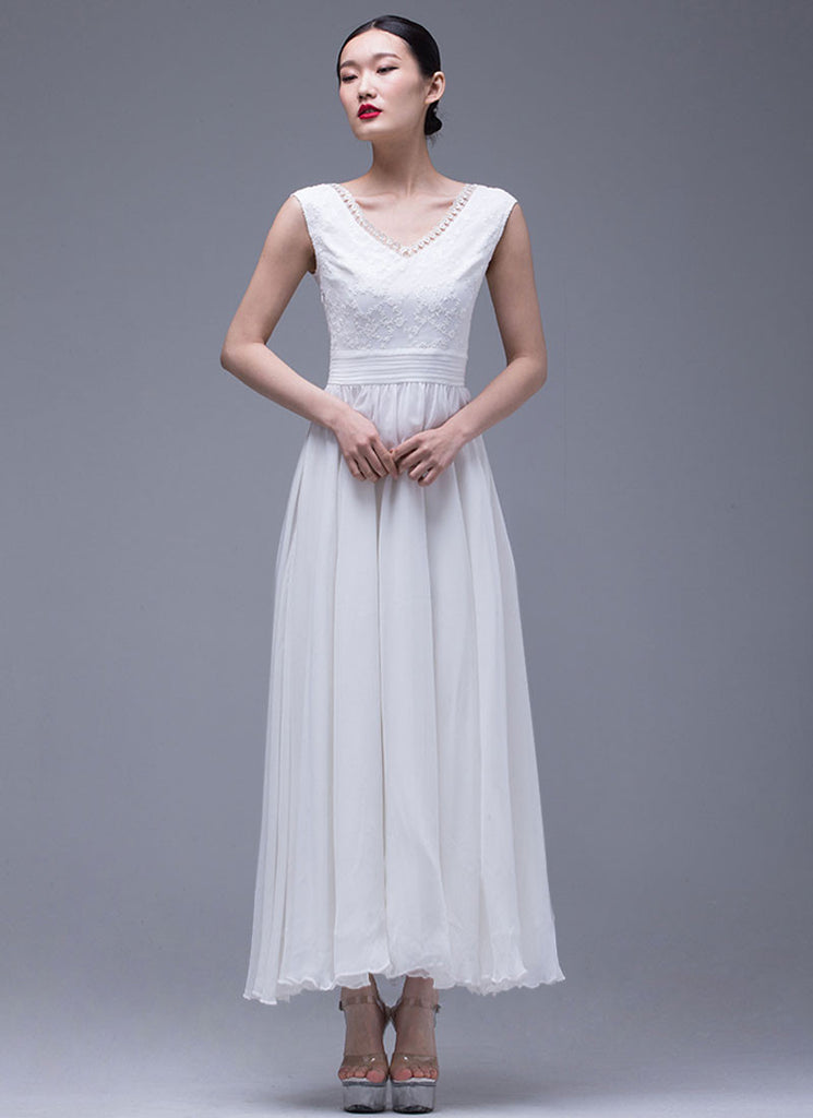 White Lace Chiffon Maxi Dress with V Neck and Pleated Waist Yoke