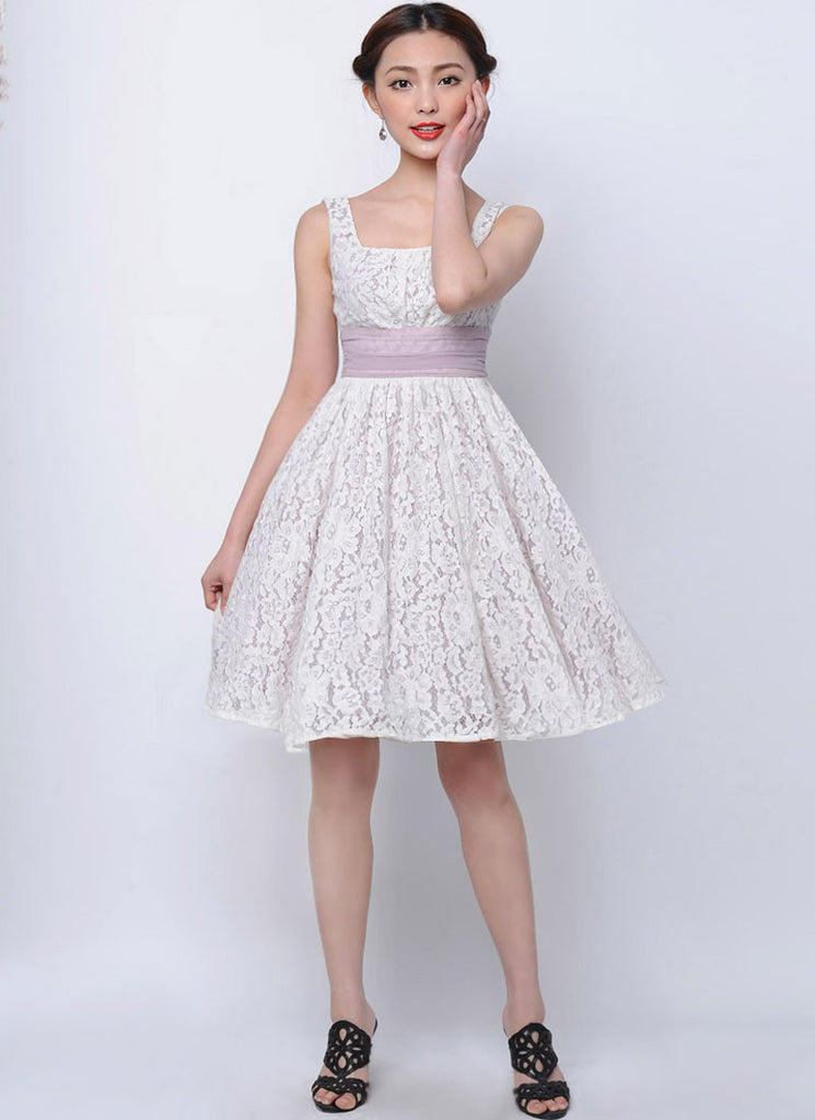 White Lace Mini Fit and Flare Dress with Violet Lining and Smocked Waist Yoke
