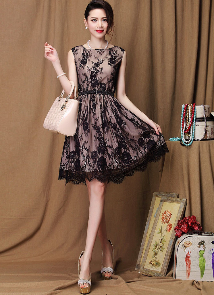 Blace Lace Fit and Flare Mini Dress with Nude Lining, Scalloped Hem and Eyelash Details RD269