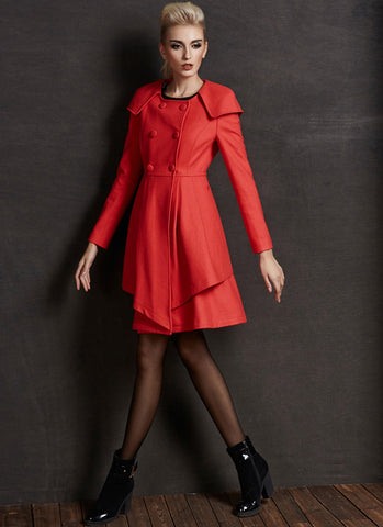 Short Orange Cashmere Wool Coat with Layered Asymmetric Hem RB70