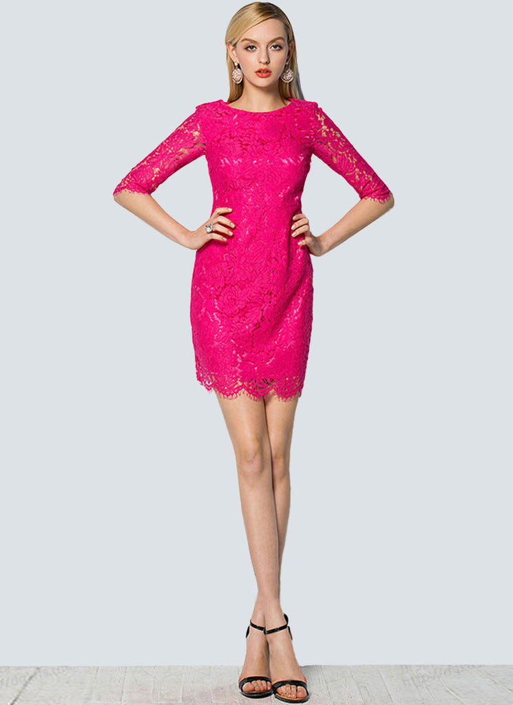 Hot Pink Lace Sheath Mini Dress with Scalloped Hem and Eyelash Details