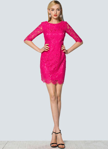 Hot Pink Lace Sheath Mini Dress with Scalloped Hem and Eyelash Details RD285