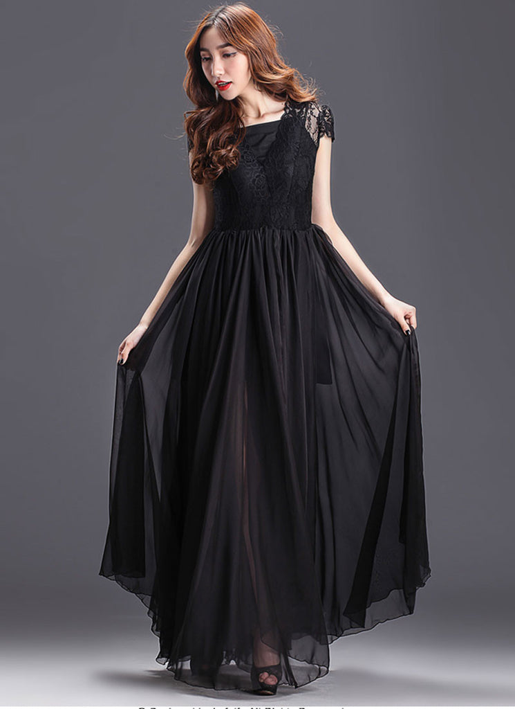 Black Maxi Dress with Lace Overlay and Cap Sleeves