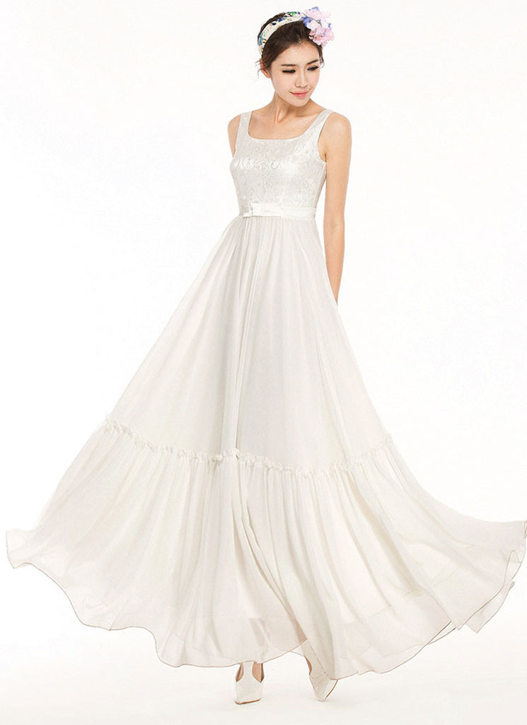 Sleeveless White Lace Chiffon Maxi Dress with Bow Shape Waist Yoke