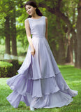 Lavender Purple Maxi Dress with Tiered Skirt