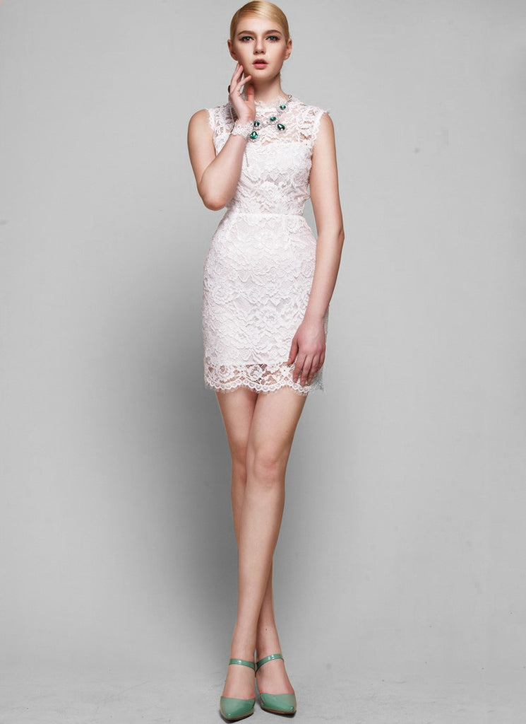 White Lace Sheath Dress with Scallop Hem & Bow Embellishment