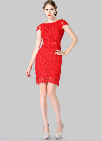 Red Lace Sheath Dress with Satin Bow Belt RD228