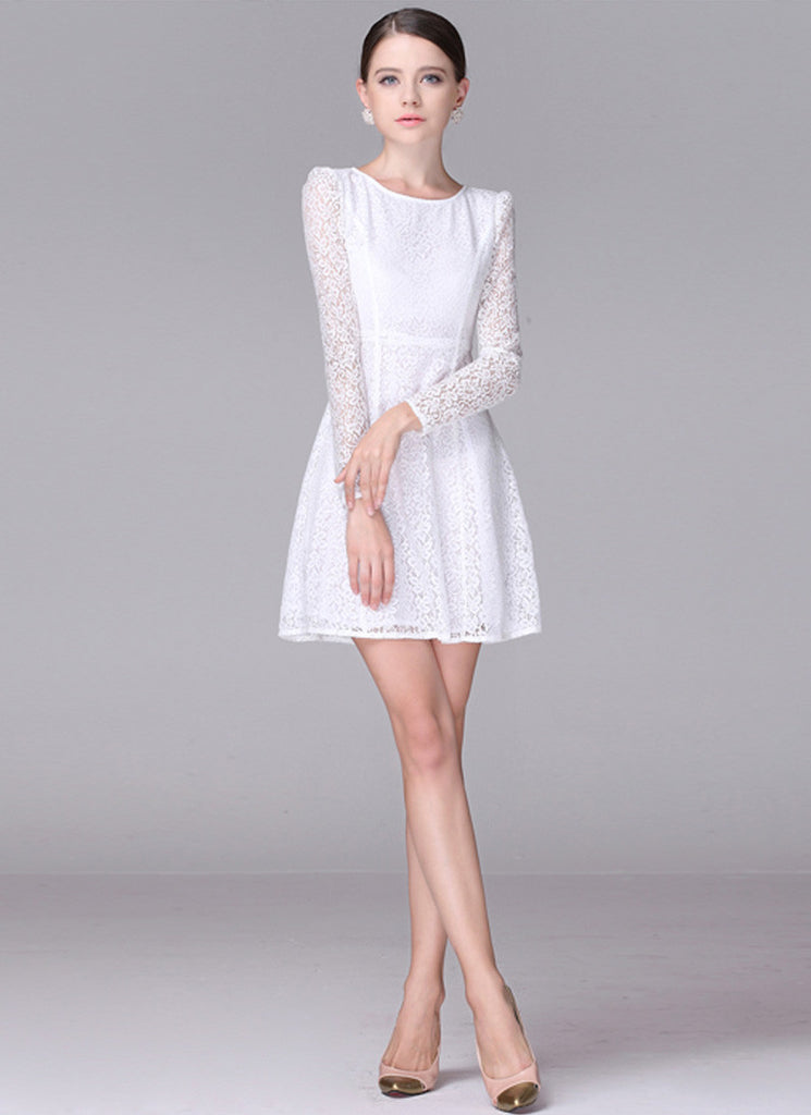 White Fit N Flare Lace Mini Dress with Puff Sleeves