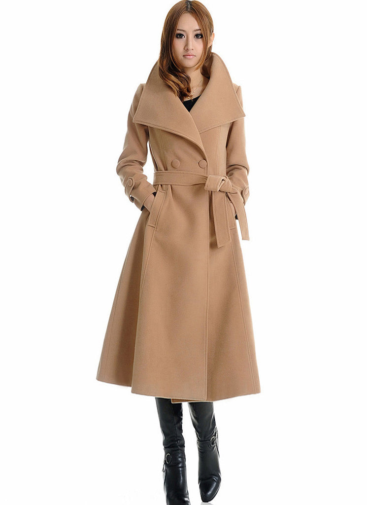 Double Breasted Tan Cashmere Wool Coat with Extra Large Lapel