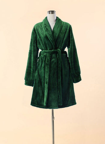 Extra Thick & Soft Bathrobe - Short Slim Fit Green Bathrobe